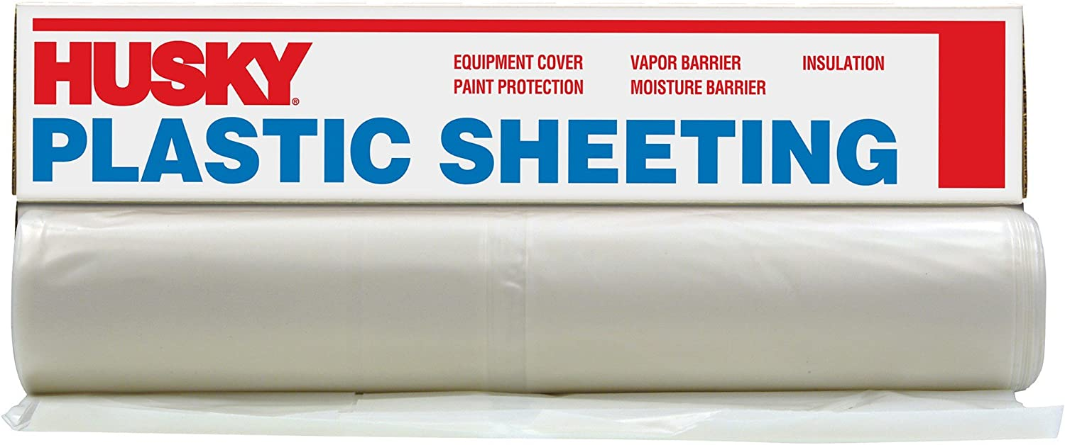 HUSKY 20 x 50 ft Extra Heavy Duty Coverall Roll Clear 6 mil Plastic Sheeting