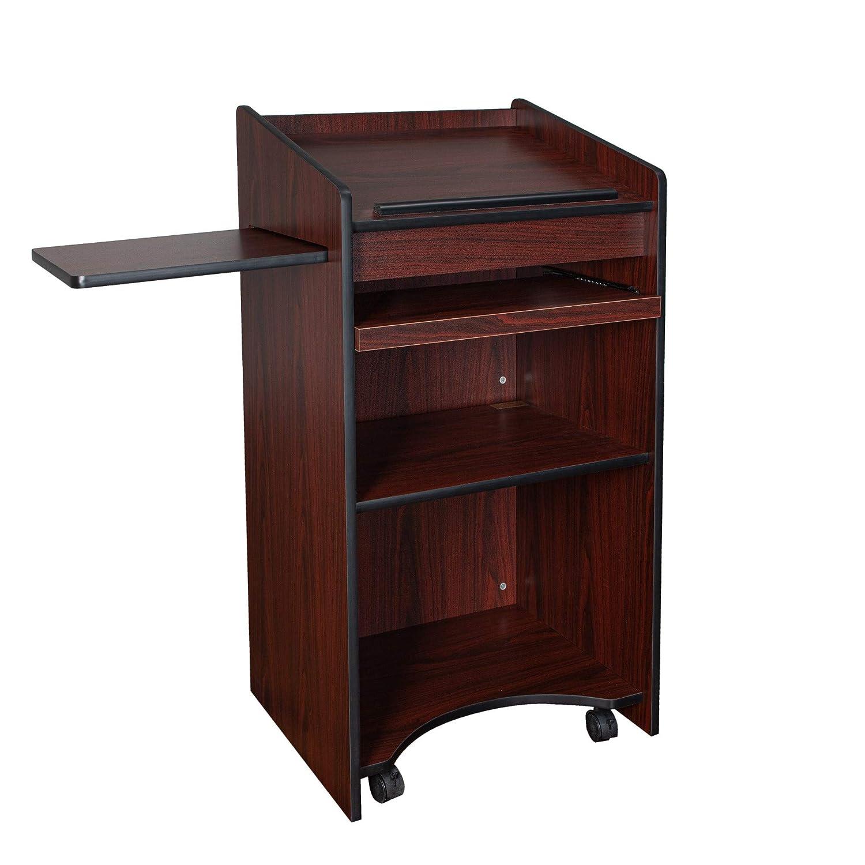 OEF Furnishings Mobile Floor Lectern with Side Shelf and Keyboard Tray Medium Oak