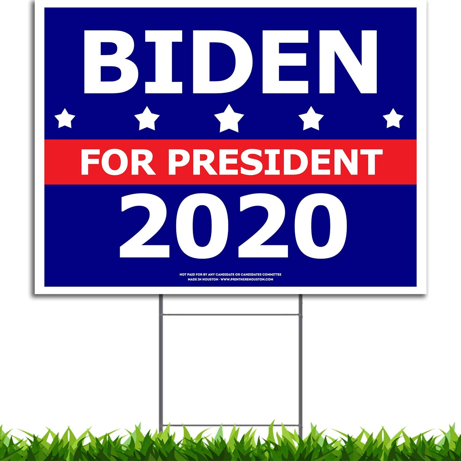 Amazon Com Vibe Ink Joe Biden For President 2020 Political Campaign Yard Sign Large 24x18 With Included Lawn H Stake Made In America Waterproof Front Back Garden Outdoor