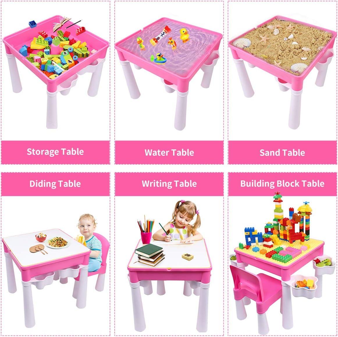 burgkidz Set Tavolo e Sedia per Bambini Tavolo da attivit/à in Plastica Rosa con Piastra di Base per Bambine Scrivania per Bambini con 1 Sedia e Mattoni da 128 Pezzi