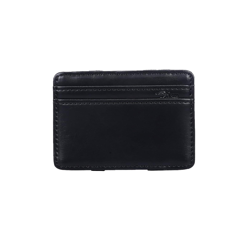 negro con ranura para credencial GJB28 con compartimento de tarjetas de cr/édito minimalista duradera y pr/áctica Cartera de cuero