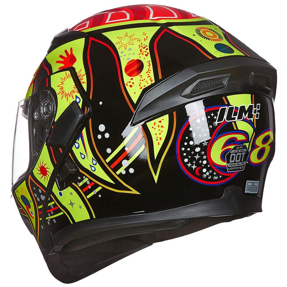 ILM Motorcycle Dual Visor Flip up Modular Full Face Helmet DOT with LED Lights L, MATTE BLACK - LED