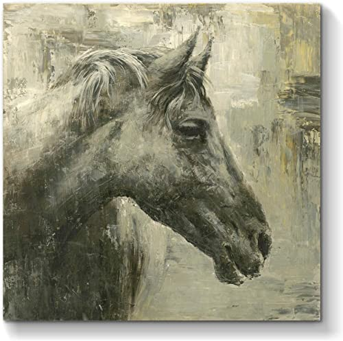 Black Horse Canvas Wall Art Abstract Animal Artwork Painting Hand Painted Picture for Living Room 24 x 24 x 1 Panel