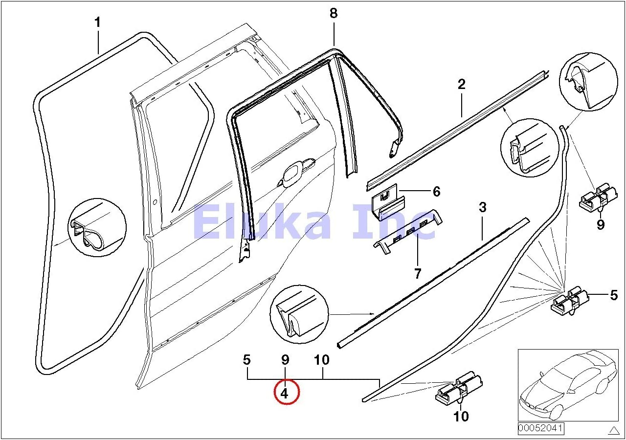 Amazon.com: BMW Genuine Rear Left Lower Door Trim Weatherstrip Seal With  Clips X5 3.0i X5 4.4i X5 4.6is X5 4.8is: AutomotiveAmazon.com