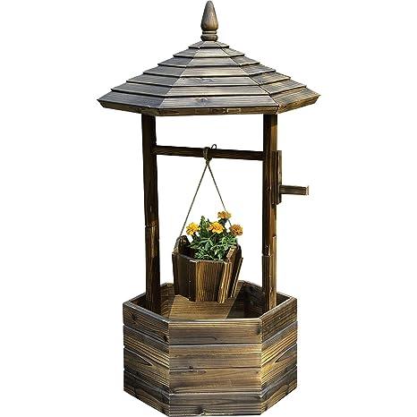 Amazon Com Fir Wood Garden Wishing Well Planter Garden Outdoor