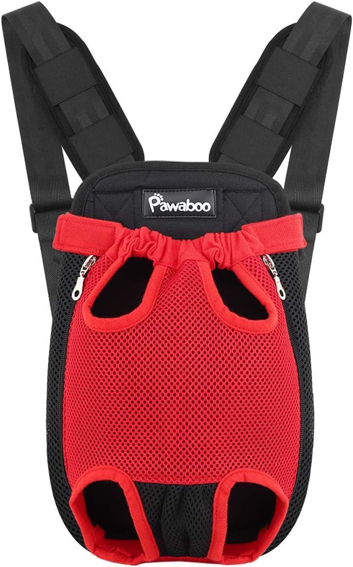 Pawaboo Mochila del Perro - Adjustable Bolsa Delantera Pet Front Cat Dog Carrier Backpack/Piernas Afuera & Fácil de Ajustar para Viajar/Senderismo/Camping, Talla L - Rojo