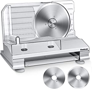 Meat Slicer, Siontech Electric Deli Slicers Food Cutter Home Use for Cheese Bread Fruit Vegetables with 2 Removable 7.5