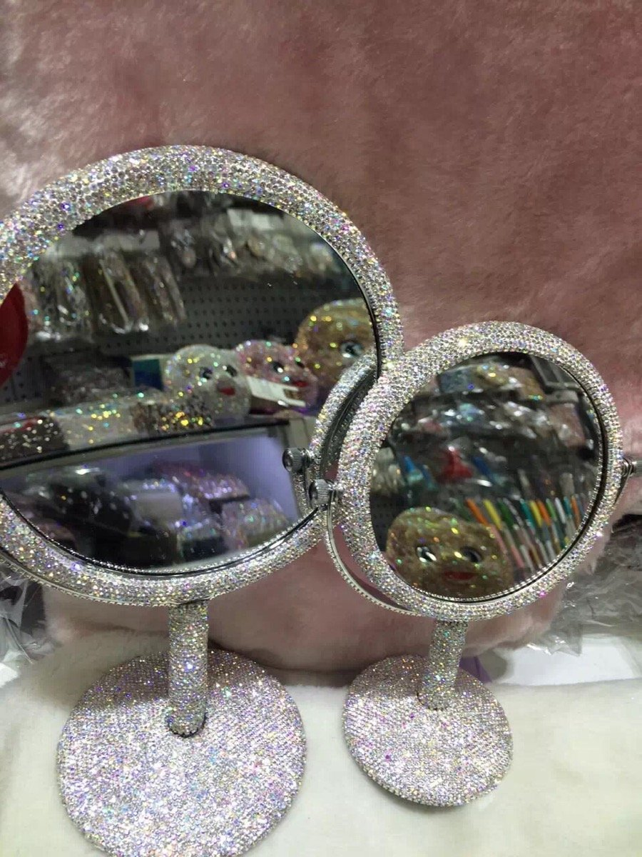 TISHAA Luxury Elegance Cute Style Bling Bling Small White Crystal Diamond Studded Double Make Up Magnification Stand Mirror USA -(Round Mirror (L))