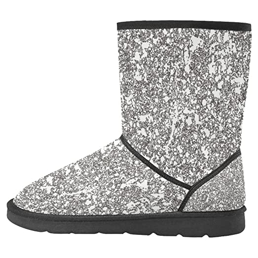 Women's Snow Boots Unique Designed Comfort Winter Boots Abstract Black White