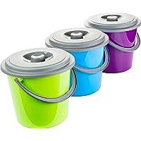 Emmer met deksel 5 liter kunststof geschikt voor levensmiddelen 3-kleurig gesorteerd 3 stuks