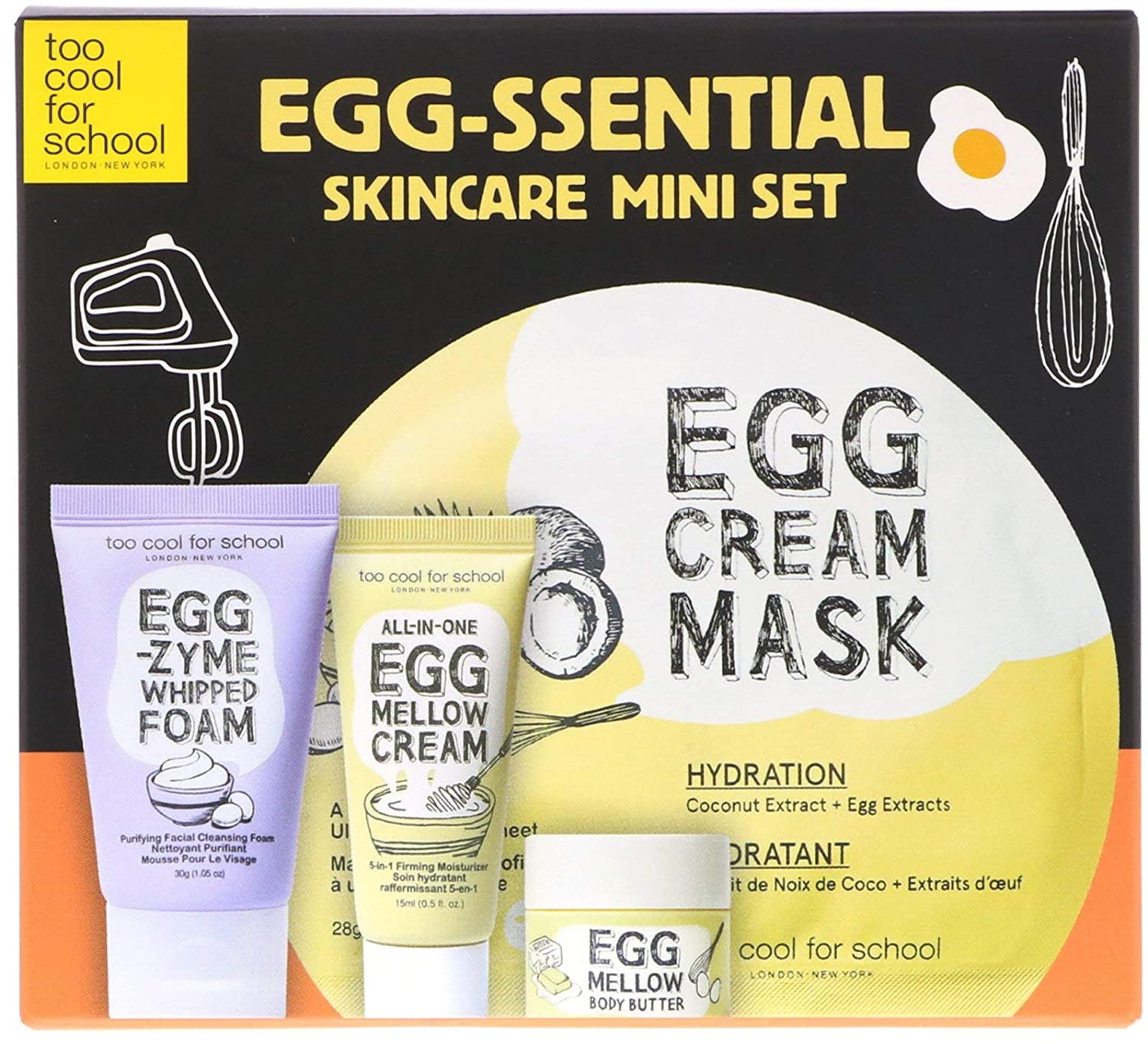 Too Cool for School Egg-ssential Skincare Mini Set 4 Piece Set - travel-size, facial cleanser, hydrating mask, moisturizer