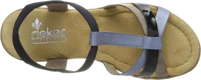 Rieker V4598-10 Sandales Plateforme Femme