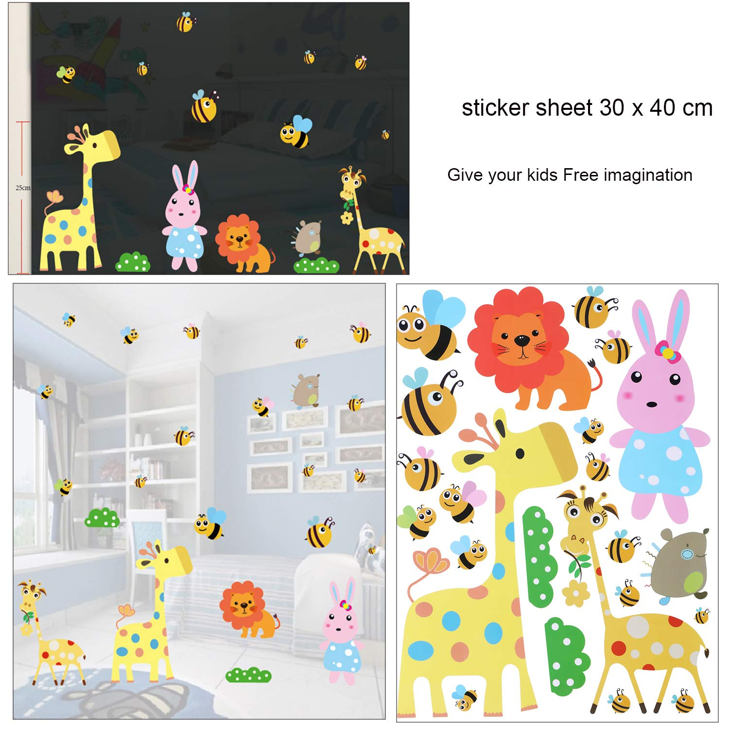 3 Big Sheet Removable Space Bathroom Window Wall Sticker Decals Vinyl Decoration for Childrens Room Nursery Party Favors Supplies OOTSR Jungle Animal Window Sticker Bug Bird Decal