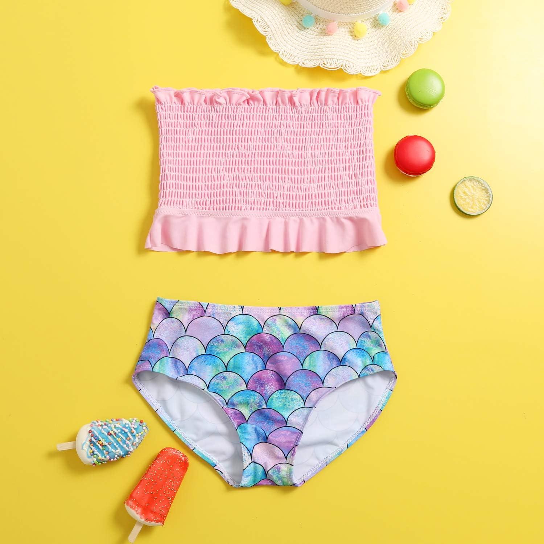 Sucor Two Piece Bikini Sets for Kids Girls Bandeau Ruffle Swimsuit Bathing Suits
