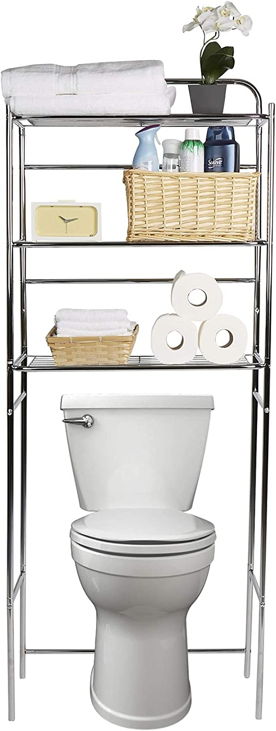 Mind Reader 3TOILR-SIL 3 Tier Organizer, Bathroom Space Saver, Over The Toilet Rack, Silver