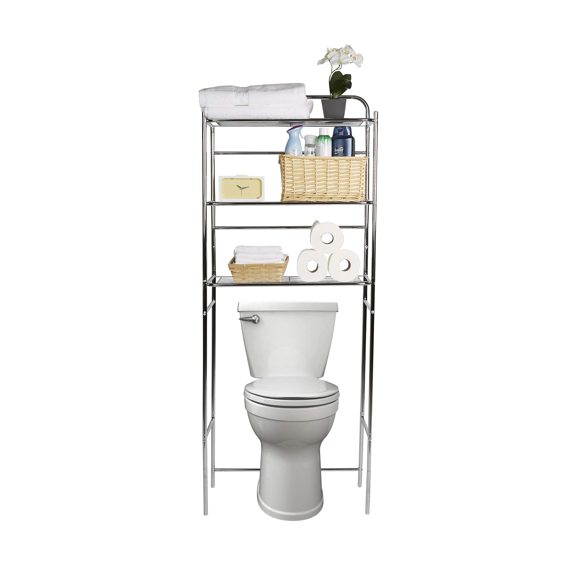 Mind Reader 3TOILR-SIL 3 Tier Rack, Toilet Unit, Bathroom Space Saver, Accessories Stand Storage Organizer, Silver by Mind Reader