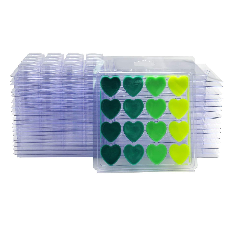 DGQ Wax Melt Molds Heart Shape - Clear Wax Molds Plastic Wax Melt Clamshells (50-Packs) Leateck