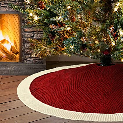 LimBridge Christmas Tree Skirt, 48 inches Knitted Knit Thick Heavy Yarn Rustic Xmas Holiday Decoration, Burgundy and Cream best Christmas tree skirt