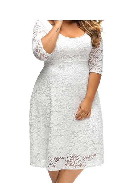 White Crochet Lace Floral Skater Dress O Neck 3/4 Sleeve ...
