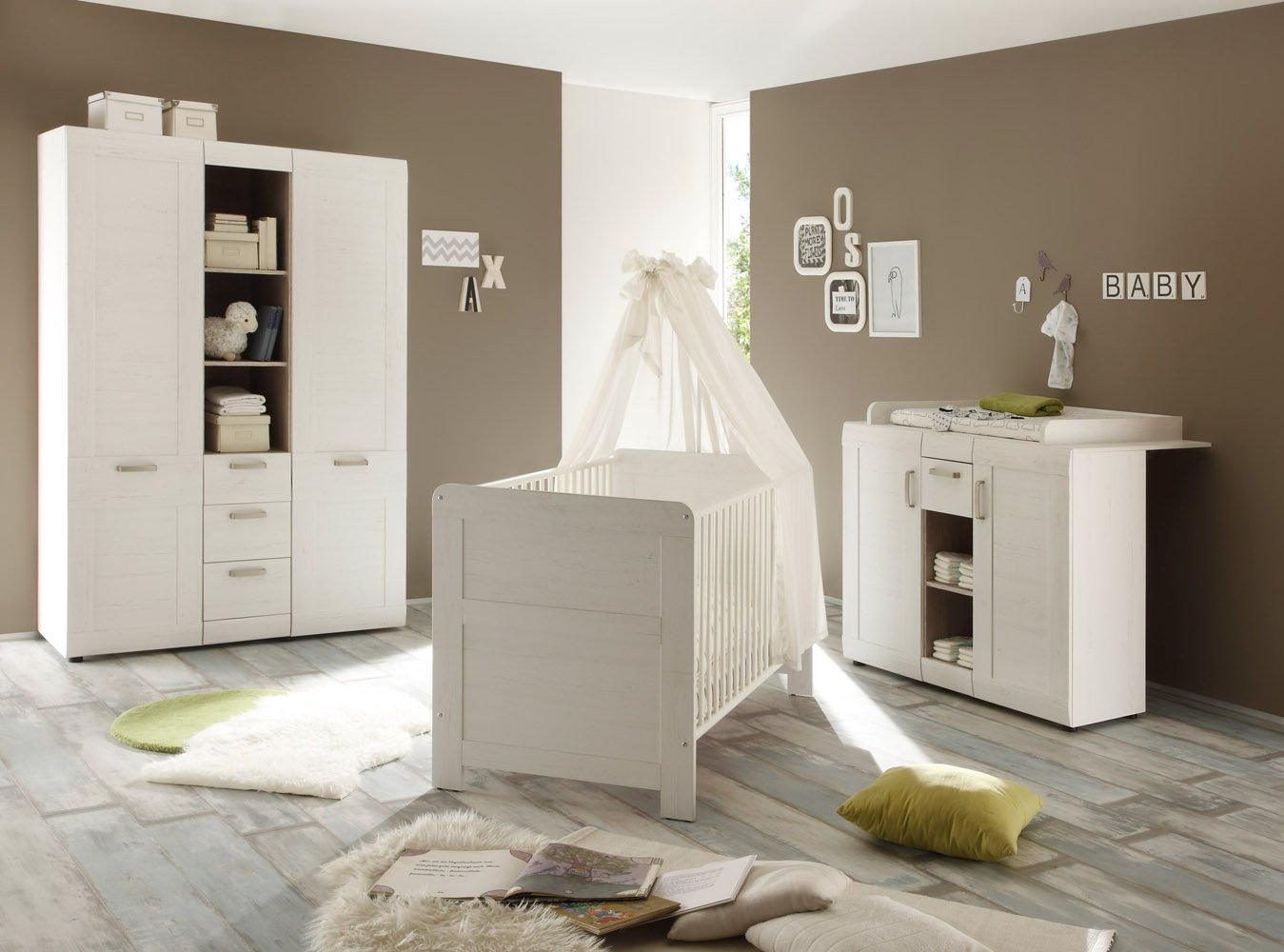 Trendteam smart living Babyzimmer Auszug für Babybett Kinderbett auf Rollen Landi, 70 x 16 x 139 cm in Pinie Weiß Struktur (Nb.) im Landhausstil