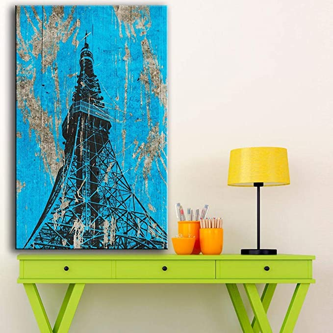 N/A Wall Art New Painting Tokyo Tower Whiteboard paint Art Print On Canvas Para la decoración del hogar Sin marco Carteles (Imprimir sin marco) E 60x120CM: Amazon.es: Hogar