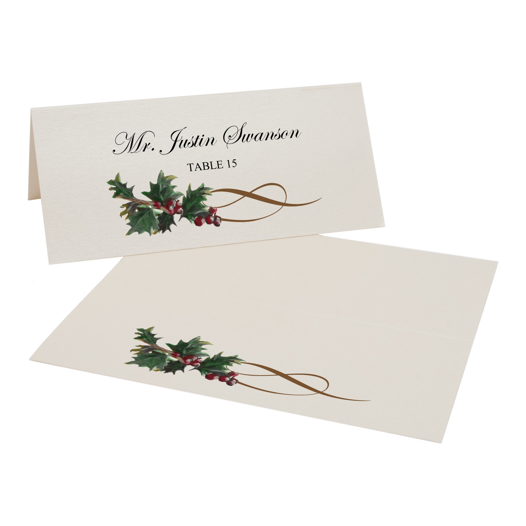 Holly Swirl Place Cards, Champagne, Set of 375 by Documents and Designs
