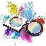 Iskas Rainbow Highlighter Colorful Shimmer Powder Blusher Eyeshadow Palette Face Eye Makeup Rainbow Color Blush Shadow Contour Cosmetics