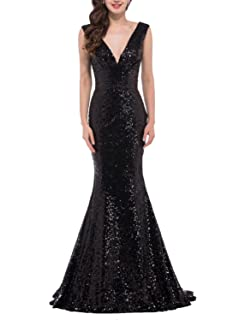 Favors Womens Sequins Evening Dress V Neck Mermaid Formal Party Gown Long PM37
