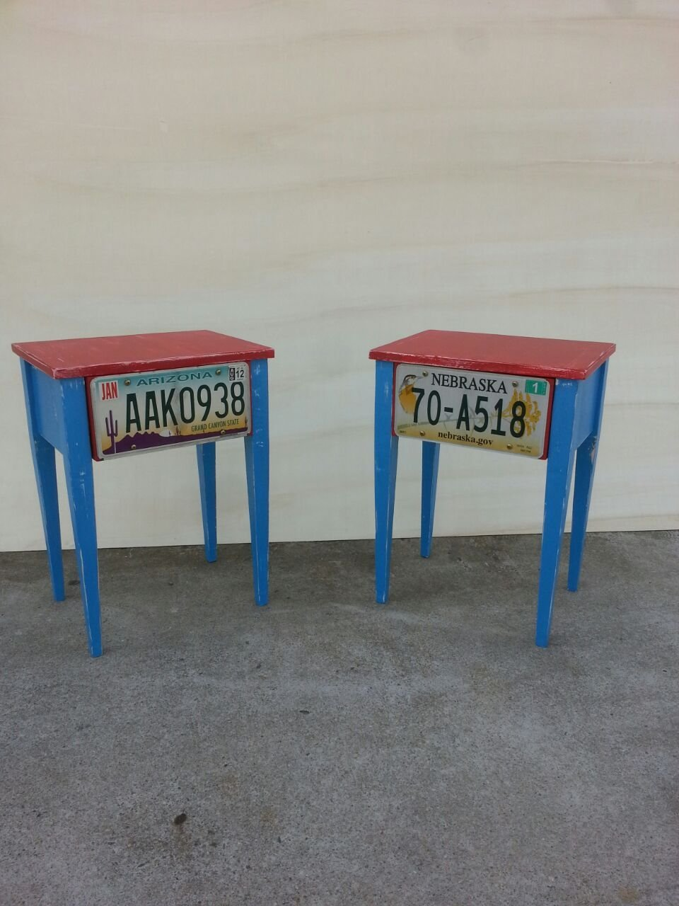 LEGNOLIFE Comodini artesanales Estilo Estilo Estilo Shabby Color Rojo y Azul (Old Ameacute;rica) 0d9995