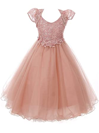 18e4bf9f007 Chic Baby Big Girls Dusty Rose Sparkle Embroidery Junior Bridesmaid Dress 8