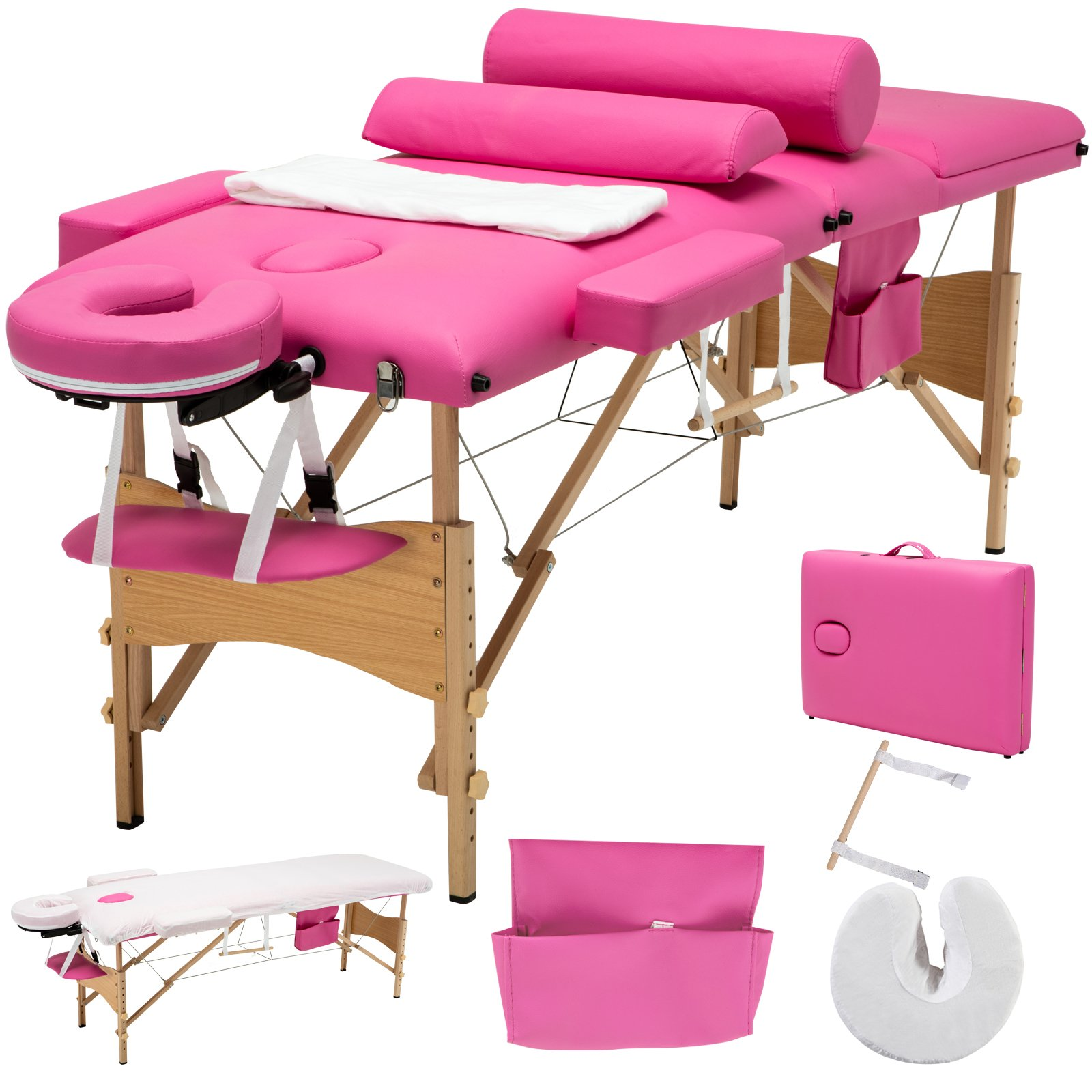 Uenjoy Folding Massage Table 84'' Professional Massage Bed 3 Fold With Additional Accessories, Pink by Uenjoy