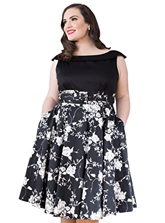 Emily London Womens Plus Size Courtney Contrast A Line Dress Black Floral Print - UK Size