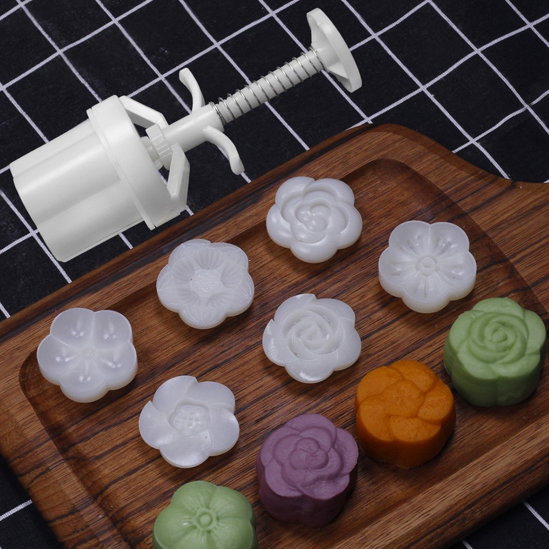 Dltsli 50g 6 Stamps Cookie Stamps Moon Cake Mold, Thickness Adjustable Christmas Cookie Press DIY Decoration Hand Press Cutter Cake Mold by Dltsli (Image #3)