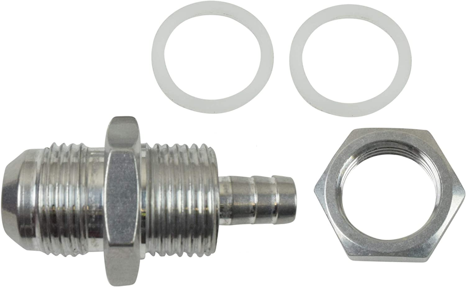 10AN Straight to 3//8 Hose Barb Double Fuel Pump Tank Fitting Bulkhead Adapter AN861-10-37A