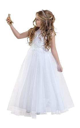 Lacey Bell Vestito Bambina Prima Comunione Damigella Glitter Tulle Gonna  Corpetto Pizzo CD-1  Amazon.it  Abbigliamento a8881956933
