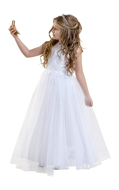 Amazon.com: Lacey Bell Girls Holy Communion Flower Girl Dress Glitter Tulle Skirt Lace Bodice CD-1: Clothing
