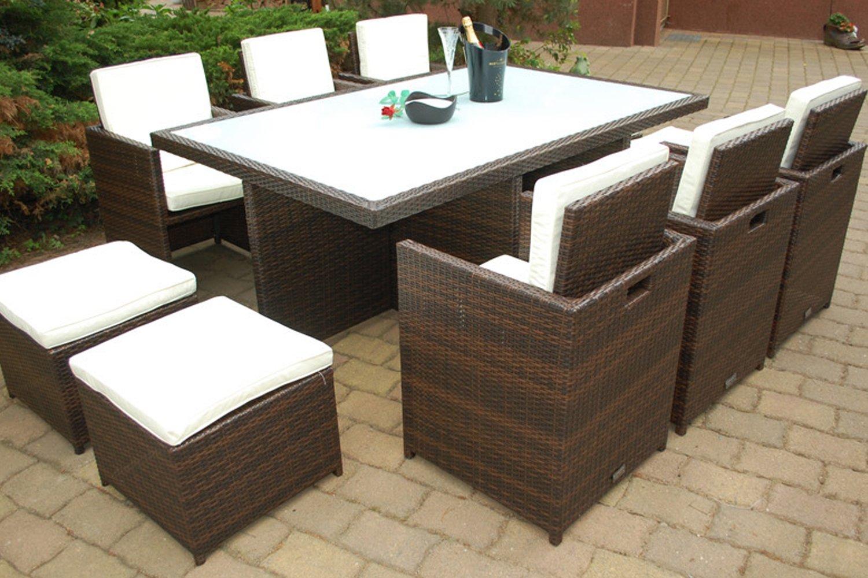 Amazon.de: PolyRattan Essgruppe DEUTSCHE MARKE    EIGNENE PRODUKTION Tisch  + 6x Stuhl U0026 4x Hocker    7 Jahre GARANTIE    Garten Möbel Incl.