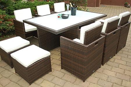 Ragnarök-Möbeldesign PolyRattan Essgruppe DEUTSCHE Marke - EIGNENE Produktion Tisch + 6 Stuhl & 4 Hocker - 8 Jahre GARANTIE -