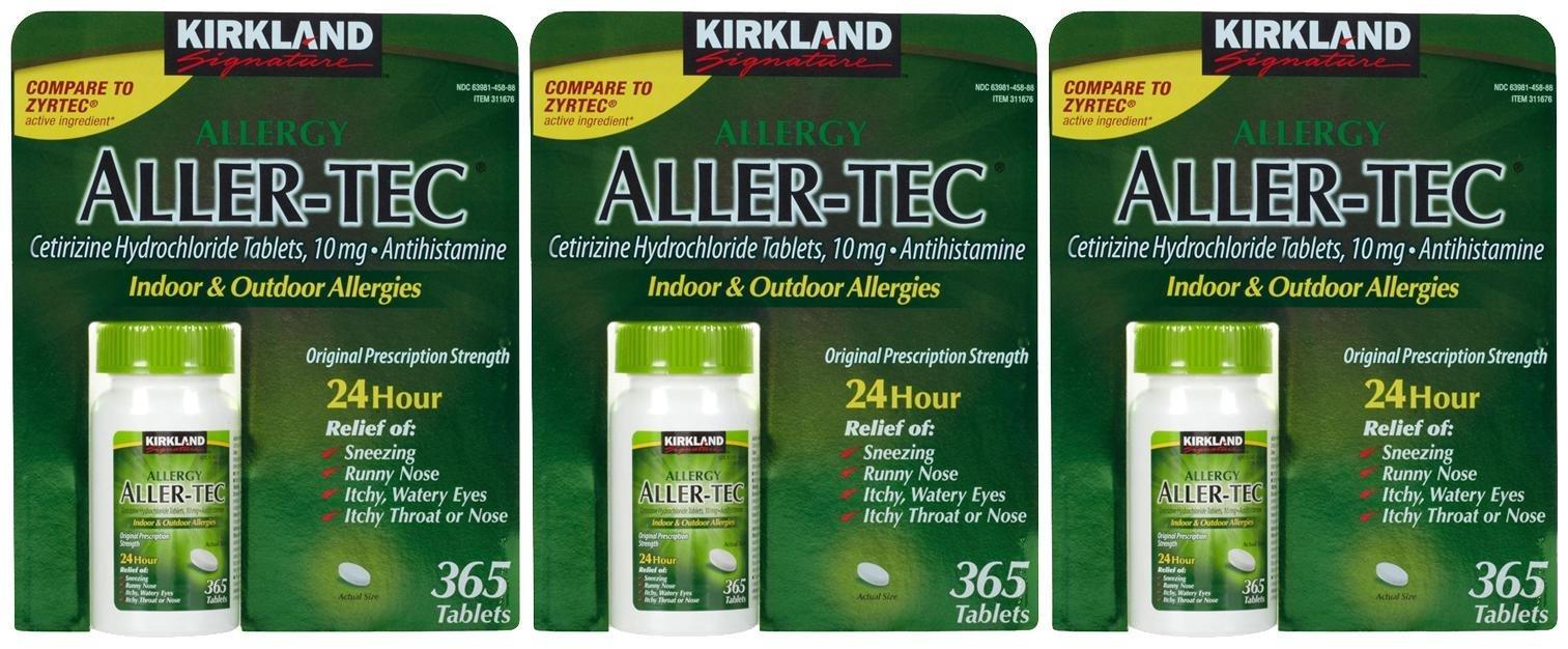 Kirkland Signature Aller-tec 10mg Tablets - 365 ct - 3 pk