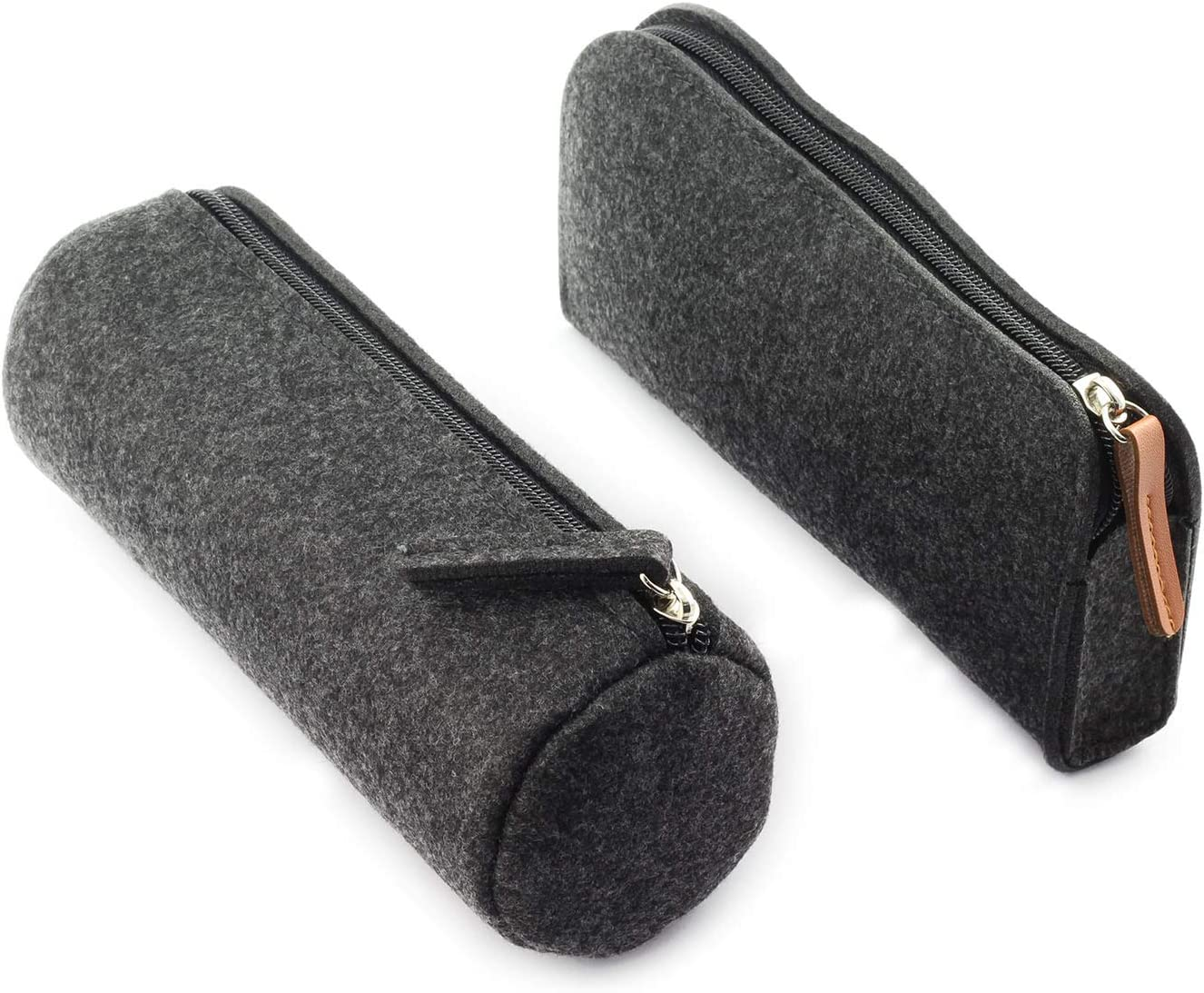 partstock 2pcs Felt Pen Bag Minimalist Office School Stationery Supplies Multi-Function Large Capacity Storage Bag Dark Gray (1x Flat, 1x Round)