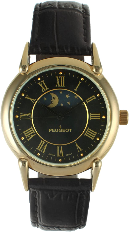 Peugeot Men s 14k Gold Plated Vintage Leather Dress Watch