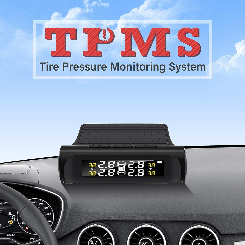Irfora Reifendruck-Kontrollsystem Auto TPMS Reifendruck/überwachungssystem Auto Wireless Alarmsystem TPMS 4 Externe Sensoren Reifendruck- und Temperatur-Echtzeitanzeige
