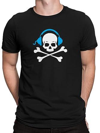 5ceebfc75c6707 vanVerden Herren T-Shirt Gamer Totenkopf mit Kopfhörer Gaming Fun Shirt   Amazon.de  Bekleidung