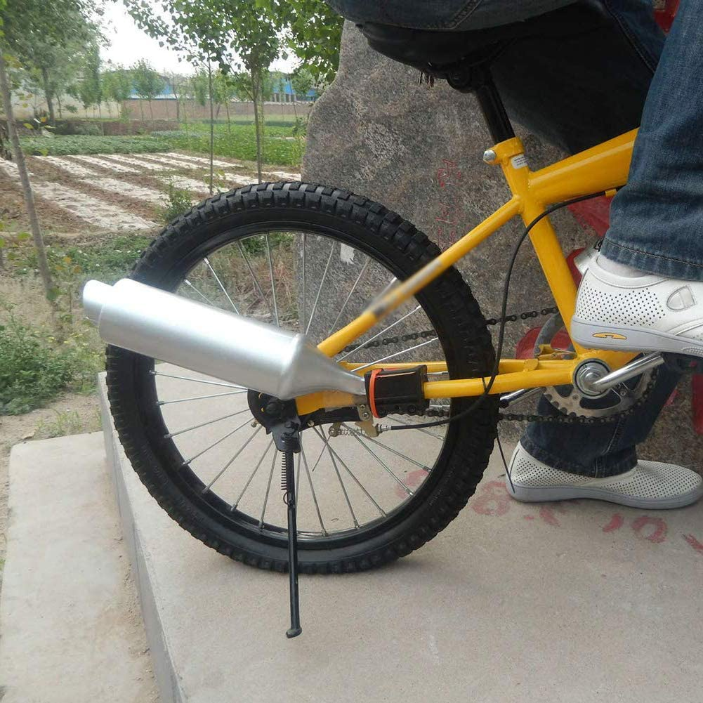 Bike Exhaust Sound System Bike Turbo Turbine Exhaust Pipe Cycling Noise Maker Silver Sound Effect Accessories