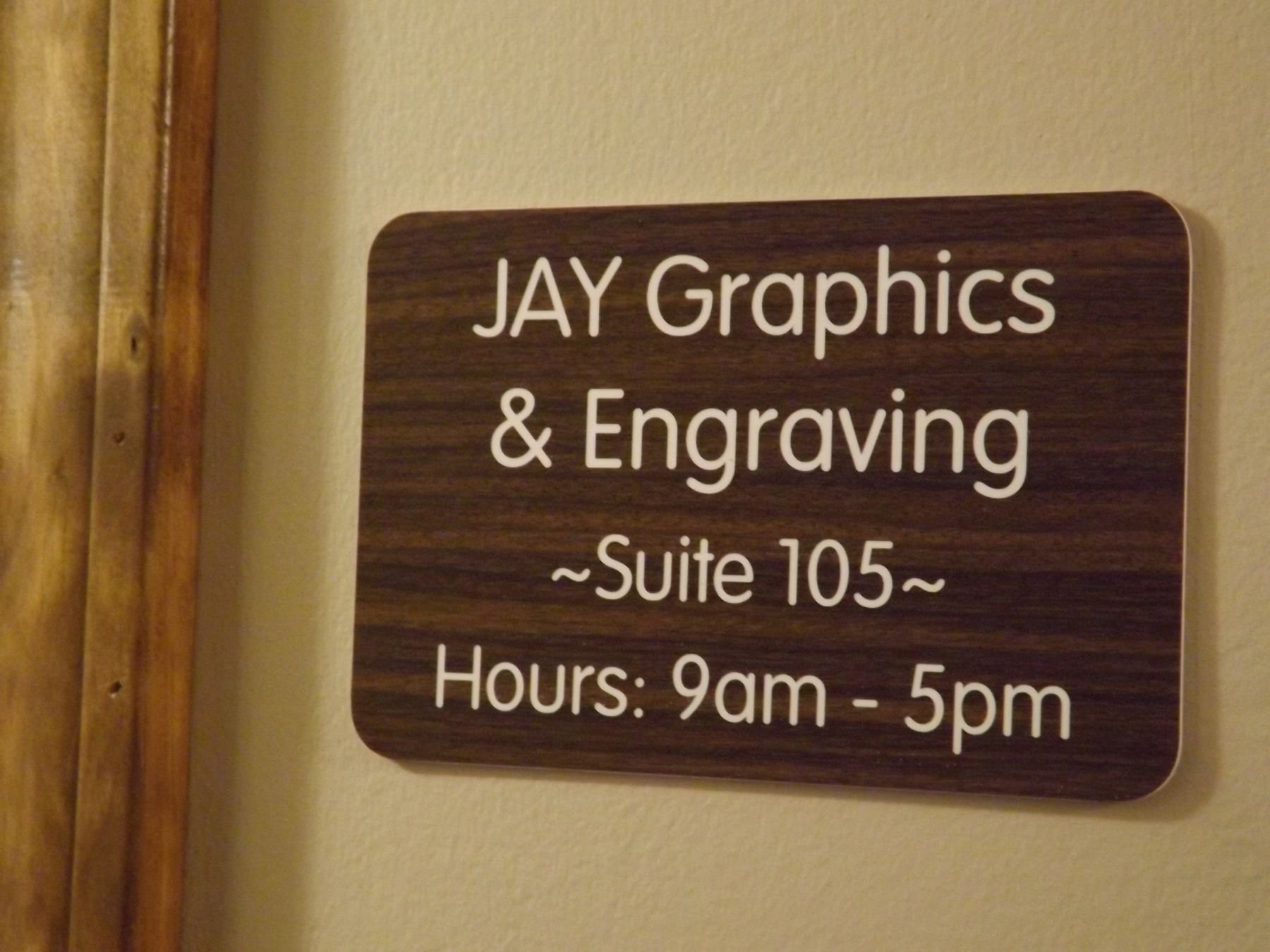 Custom Engraved 4x6 Walnut Wood w/ White Lettering Door Suite Wall Sign | Name Plate | Personalized Wall Plaque | Business Doctor Law Firm Home Office Cafe Shop | Up to 4 Text Lines | Adhesive Backed