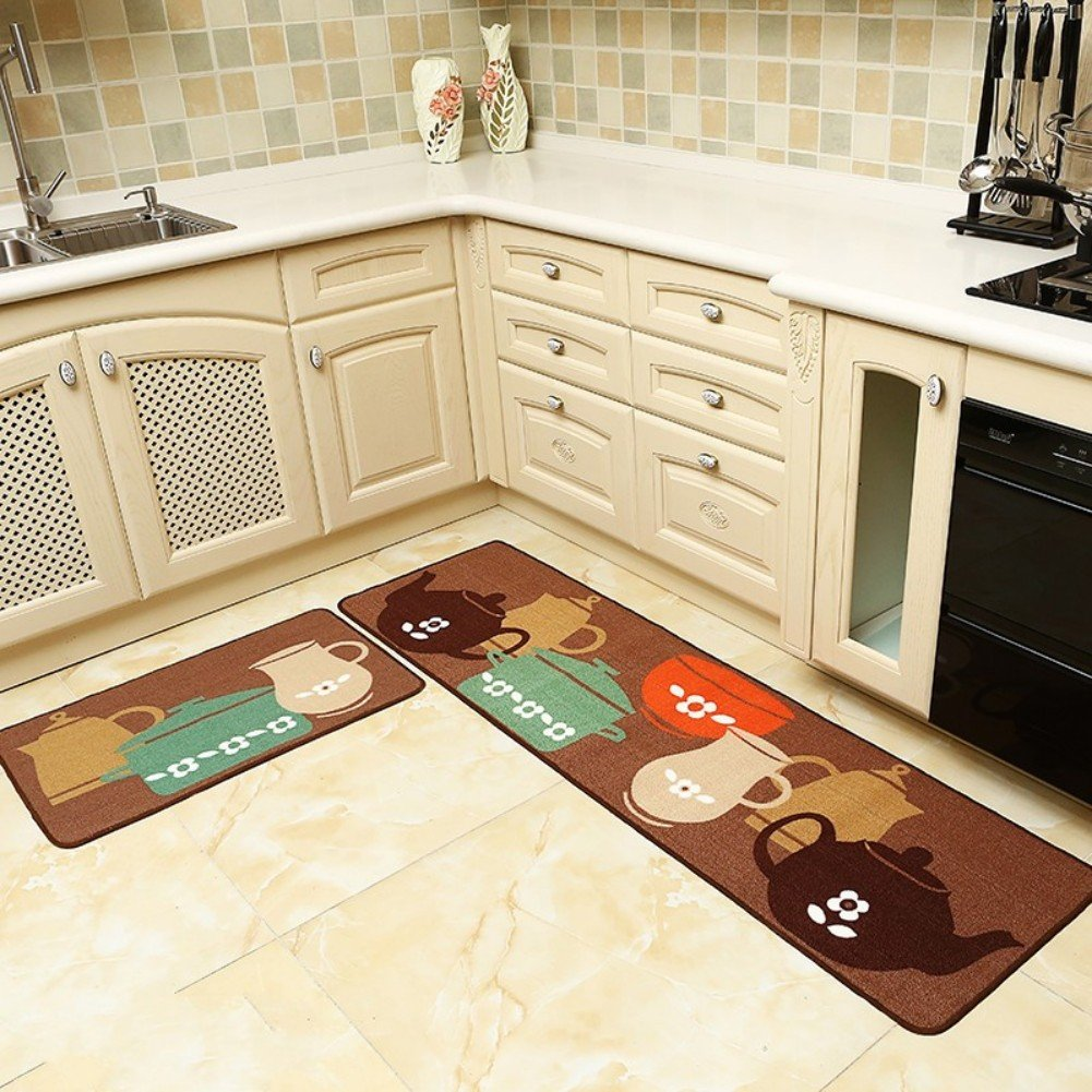 Seamersey home and kitchen rugs 2 pieces 4 size decorative non slip rubber backing doormat