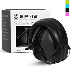 EAREST Hearing Protection Ear Muffs, NRR 20dB Professional Noise Reduction Safety Earmuff/Ear Defenders/Ear Protector for Shooting/Hunting/Yard Working Fits Kids (Black)