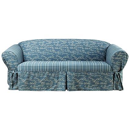 Merveilleux Sure Fit Vintage Script 1 Piece   Sofa Slipcover   Ocean Blue/Walnut (