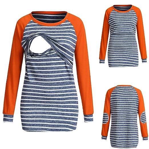 6456611e87f34 GoodLock Women Mom Maternity Nursing Tops Long Sleeve Striped Tops  Breastfeeding Sweatshirt T-Shirt (