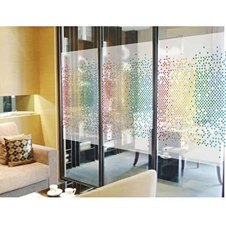 HOHO 80cmx120cm Star Pattern Static Cling Stained Glass Sticker Frosted  Window Films For Coffee Room Home